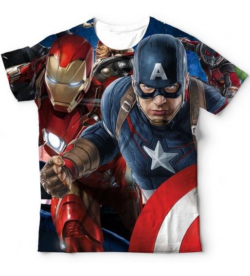 Camisa Camiseta Avengers Capitão America Homen De Ferro