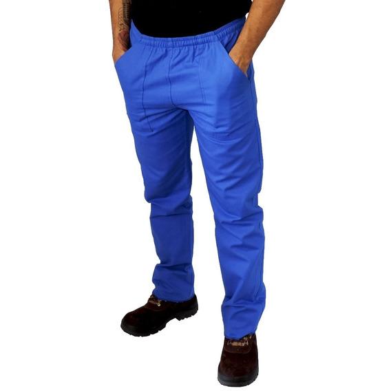Calça Brim Uniforme Profissional Cinza E Azul Frete Grátis