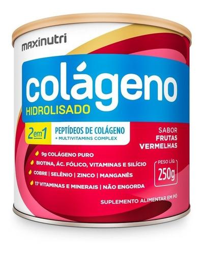 Imagem 1 de 3 de Colágeno Hidrolisado 2 Em 1 Frutas Vermelhas 250g Maxinutri