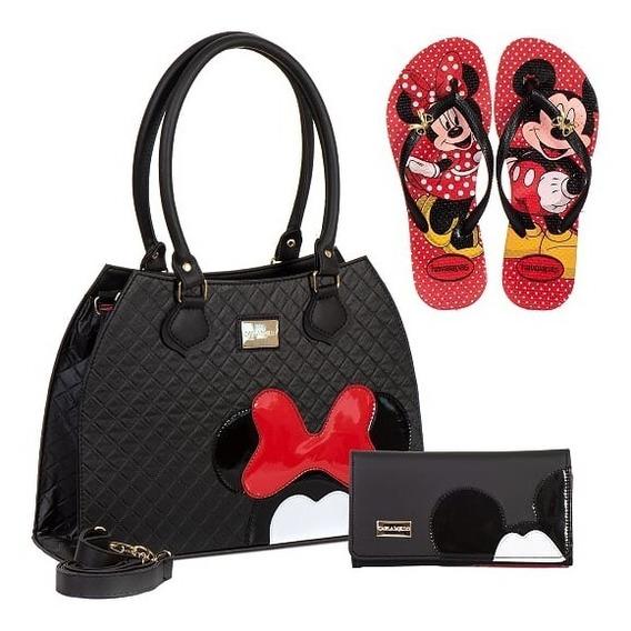 Bolsas Femininas Minnie Mickey Mouse Com Carteira + Chinelo