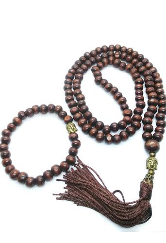 Imagem 1 de 5 de Japamala 108 Contas Masculino Madeira Marrom + Pulseira Buda
