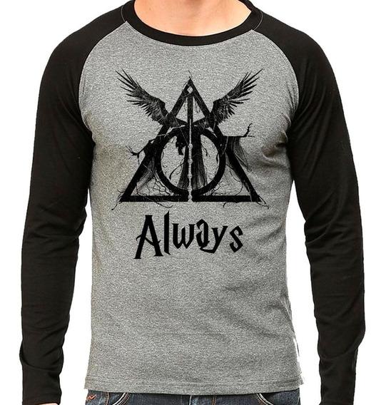 Camiseta Harry Potter Reliquias Da Morte Raglan Mescla
