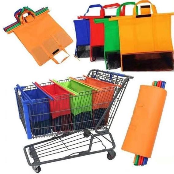 Kit Sacola Para Carrinho De Compras Feira Com 4 Organizador
