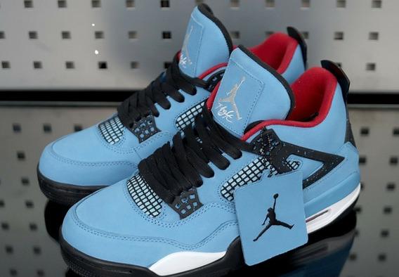 Tenis Nike Air Jordan Iv X Travis Scott Ocean Blue