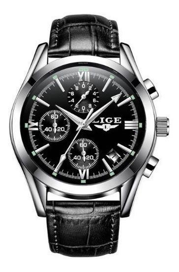 Reloj Casual Cuarzo Hombre Lige 9839 Plata Negro Cuero