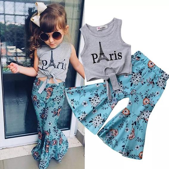 Conjunto Infantil Calça Flare Azul E Blusinha Cropped Paris