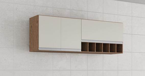 Armario Cozinha Prisma 2 Portas 1,54cm Perfil Amendoa/branco
