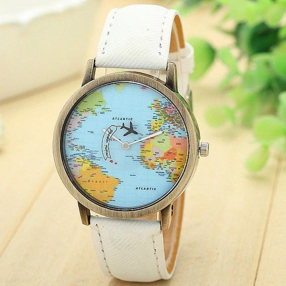 Relógio Mapa Mundi Com Avião Indicando Os Segundos