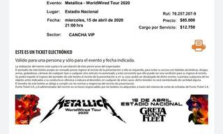 Entrada Concierto Metallica Cancha Vip