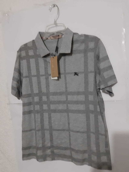 Playera Polo Burberry Recuadros Grises