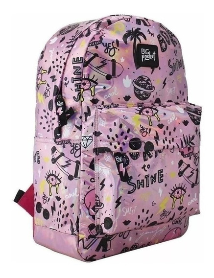 Mochila Big Pocket Holográfica 17 Just Cool