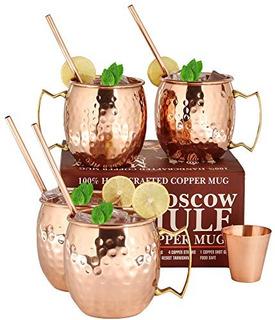 Moscow Mule Copper Mugs - Juego De 4-100% Tazas De Cobre Sól