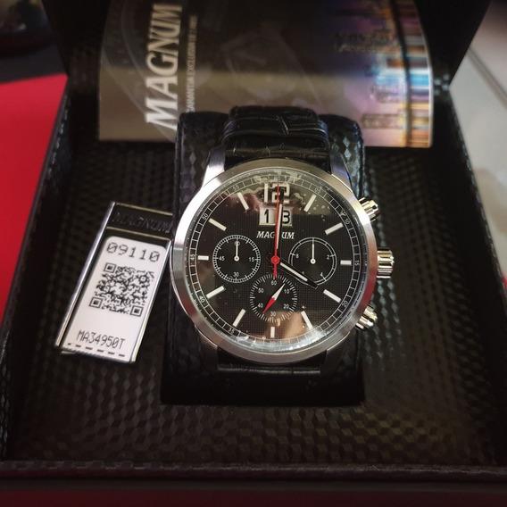 Relógio Masculino Magnum Ma34950t Cronógrafo Prata Com Preto Baixou Preço Oportunidade Nota Fiscal 2 Anos De Garantia