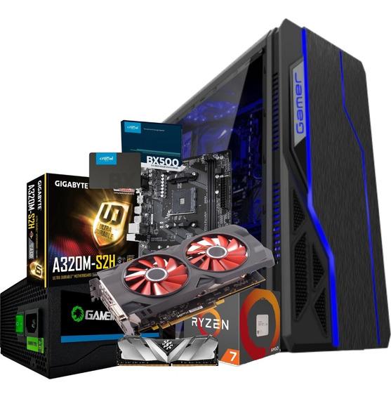 Pc Gamer Ryzen 2700 Gpu Rx 570 8gb Ram 8gb Ssd 240gb 650w Nf