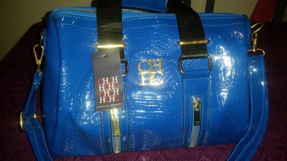 Cartera De Charol Carolina Herrera Azul