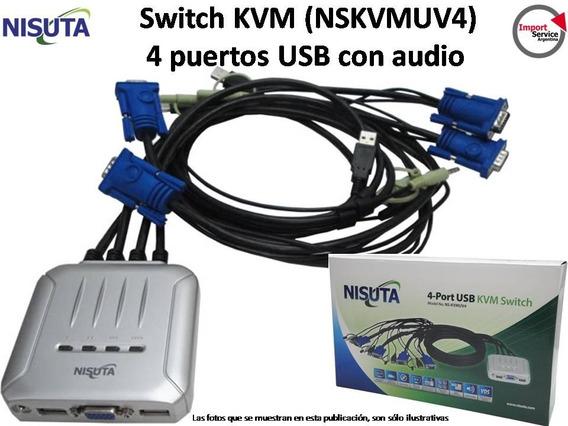 Switch Kvm Nisuta (nskvmuv4) De 4 Puertos Usb Con Audio
