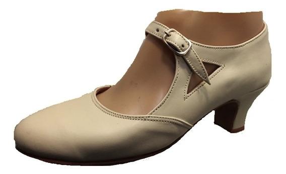 Zapato Español Folklore Para Danza Beige Camel