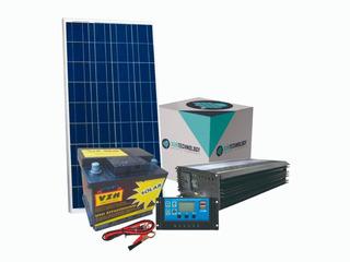 Kit Solar Con Inversor De 600 W 220 V + Batería Ciclo Profundo De 45 Ah Cortes De Luz Casas De Campo Usb Envío Gratis