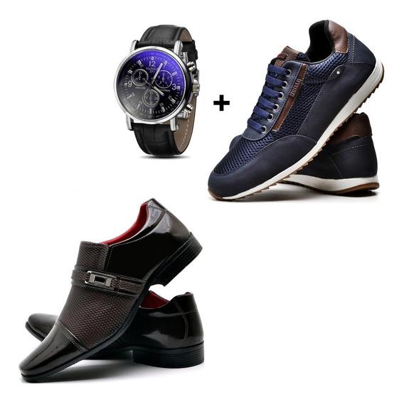 Sapato Preto Social + Tênis Azul + Relógio
