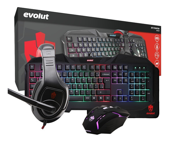 Kit Gamer Starter - Mouse Teclado Headset Pad - Eg-50 Evolut