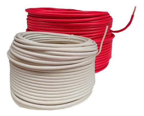 Imagen 1 de 1 de Kit 2 Cable Eléctrico Cca Calibre 8 Blanco Y Rojo 100 Metros