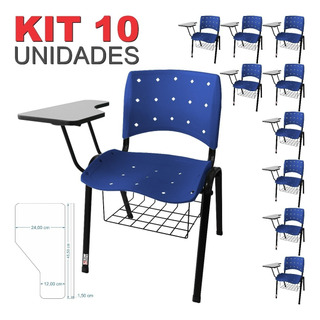 Kit 10 Universitária Ergoplax Iso C/ Porta Livros Azul
