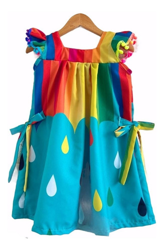 Vestido Infantil Chuva De Amor Arco Íris Colorido Festa