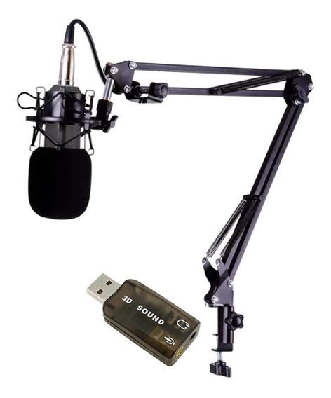 Kit Microfone Bm800 + Braço + Aranha + Espuma + Brinde