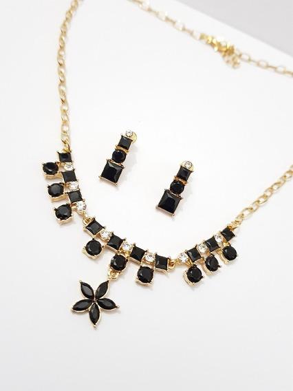 Collar Cristal Negro Flor Con Aretes Dorado Y Envio Gratis