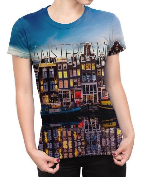 Camiseta Baby Look Feminina Amsterdam Estampa Digital