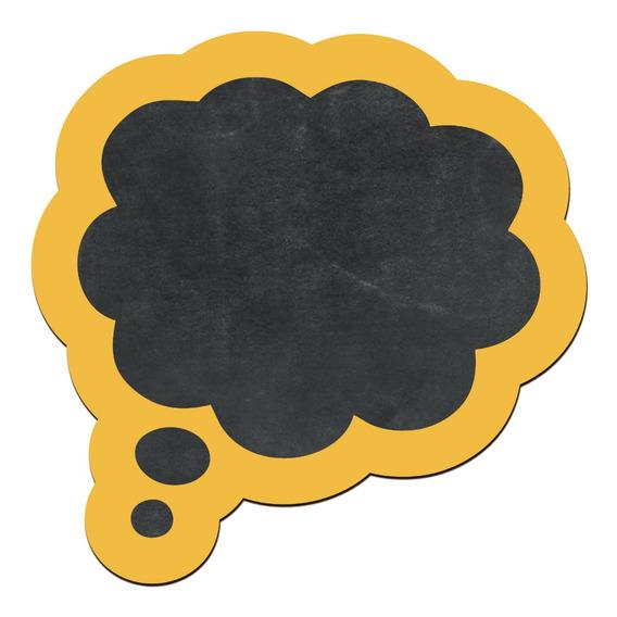 Pizarra Decorativa Nube Pensamiento Amarilla No Vinilo 27x28