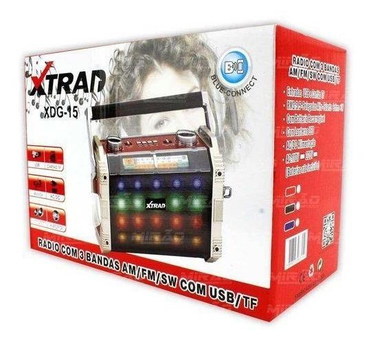 Caixa De Som Bluetooth Radio Com Lanterna Usb Sd Mp3 3 Banda