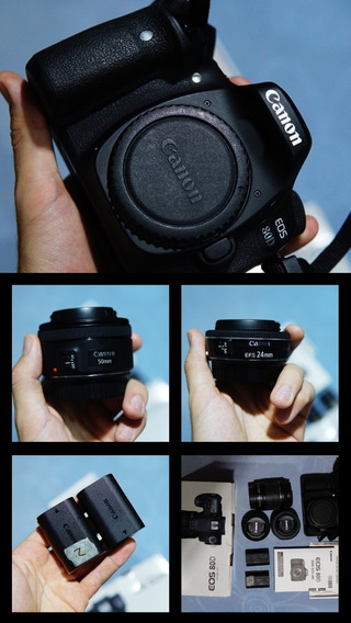 Kit 80d + 50mm 1.8 + 24mm 2.8 + 18-55 + Bateria Extra