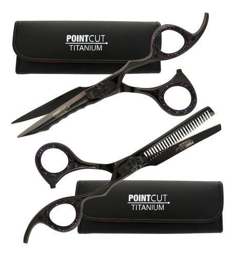 Kit Tijeras Microdentada + Pulir Pointcut Titanio Black 6