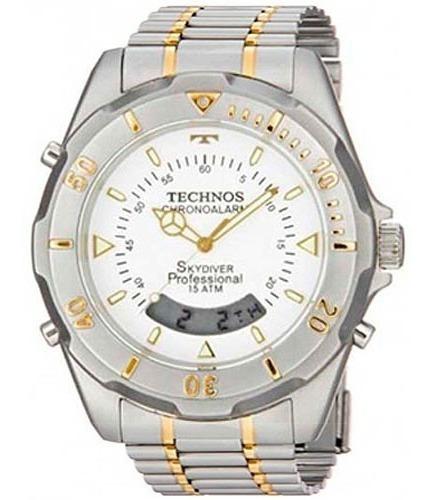 Relógio Technos Masc Skydiver Dourado Branco T20557/9b  Nfe