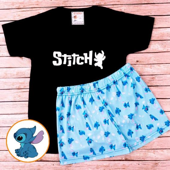 Pijama De Verano Stitch Remera Negra - Store Mykonos