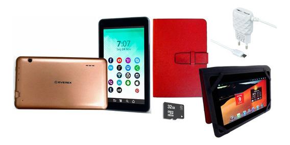 Tablet Dourado Tela7 Android Wifi Quad Core Capa Cartão 32gb