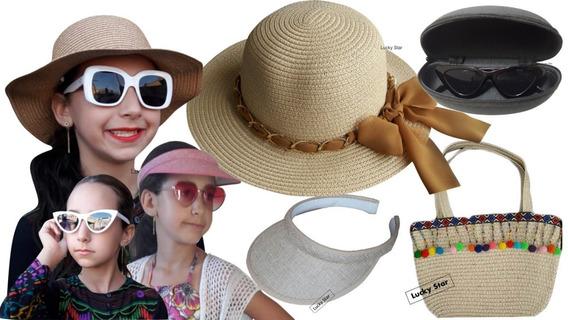 Bolsa Praia Infantil + Chapéu Menina 4 Até 8 Anos + Viseira + Óculos De Sol Kit
