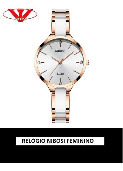 Relógio Luxuoso Nibosi Feminino Branco