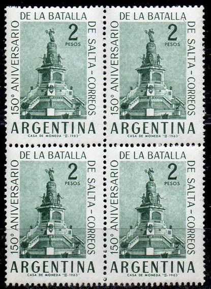 Argentina 1963. Cuadro Del 2p Batalla De Salta, Papel Tizado