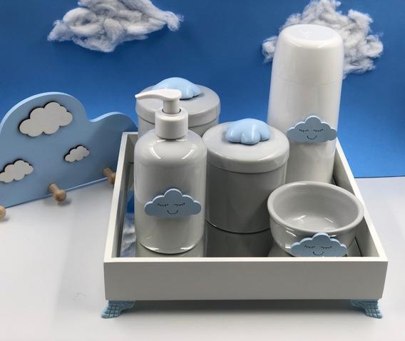 Kit Higiene Bebê Potes Porcelana Nuvem Azul Garrafa 250ml