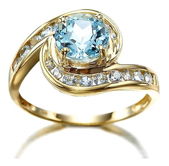Anel Banhado Ouro Feminino Cristal Água Marinha Azul 206 P