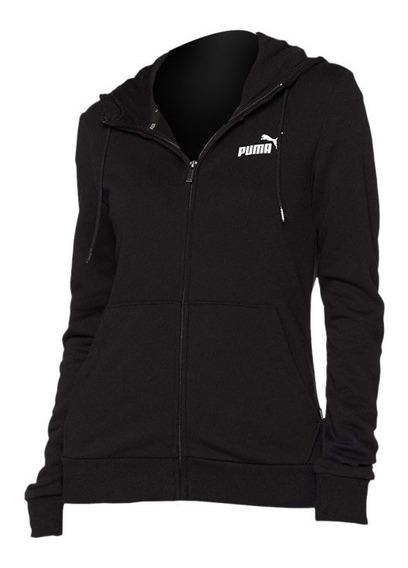 Campera Puma De Mujer Essential Con Capucha Negra