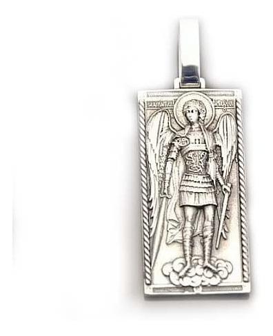 Pingente Arcanjo Miguel Grande Com Oração Prata 950k