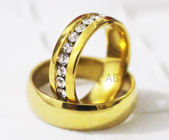 Par De Aliança Zirconia Casamento Noivado Banhada + Brinde