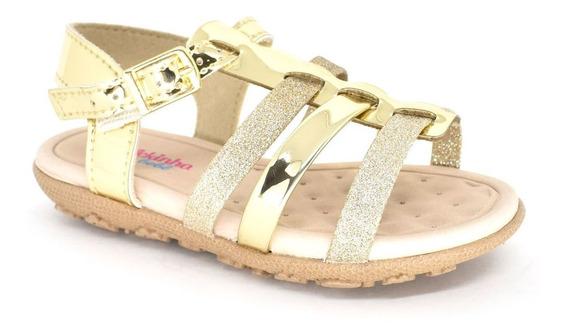 Sandália Rasteira Dourada Glitter Infantil Molekinha 2121102