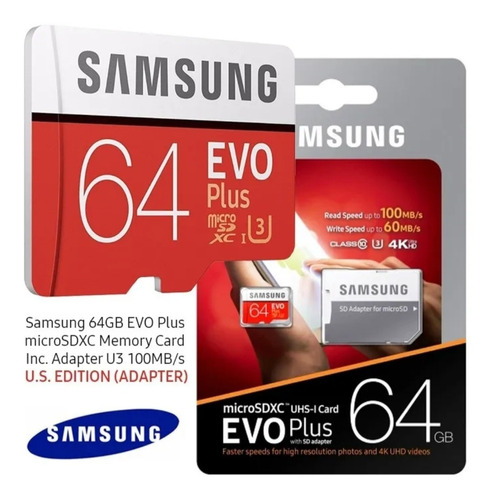 Tarjeta Microsd Samsung Evo 64gb U3 Clase 10 4k Ultra Rápida
