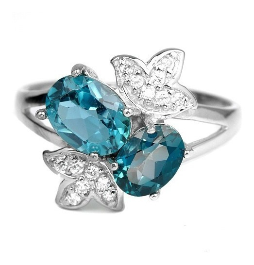 Anel Aro 16 Prata 925 Ouro 14k Topazio Azul Londo Naturais