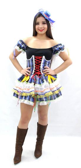 Vestido De Festa Junina Xadrez Adulto Corpete Caipira Junino