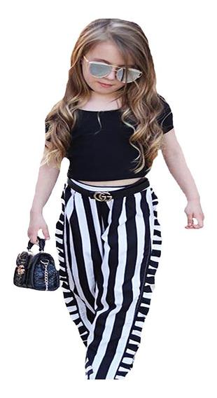 Conjunto A Rayas Blanco Y Negro Pantalon Falda Para Niña